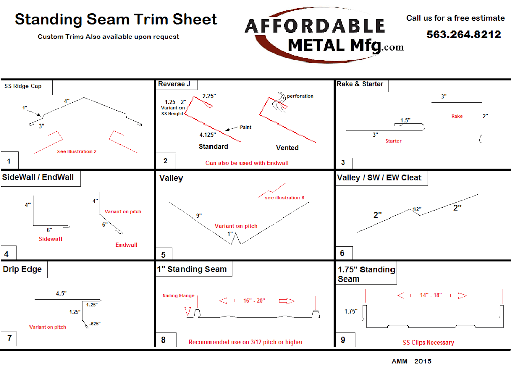 Trims For Standing Seam Affordable Metal Manufacturing